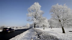 DEEP FROST & SNOW TREES WYKEHAM NORTH YORKSHIRE ENGLAND Stock Footage