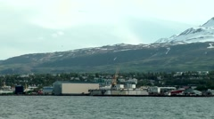 Iceland Akureyri region 039 the docks seen from water Stock Footage