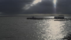 Penarth Peir, Late afternoon, sunlight on water Stock Footage