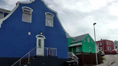 Iceland city of Akureyri 028 residential street with colorful houses Stock Footage