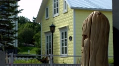 Iceland city of Akureyri 025 residential house with a totem pole Stock Footage