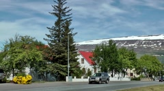 Iceland city of Akureyri 022 provincial street view with landscape background Stock Footage