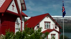 Iceland city of Akureyri 021 wooden church and rectory in Nordic architecture Stock Footage