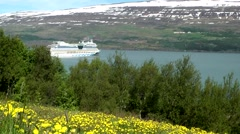 Iceland city of Akureyri 019 passenger ship in the Nordic landscape Stock Footage