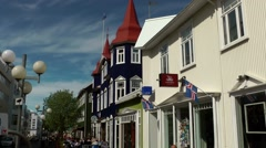 Iceland city of Akureyri 014 Street view into pedestrian zone. Stock Footage