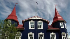 Iceland city of Akureyri 012 colonial style villa in pedestrian zone Stock Footage