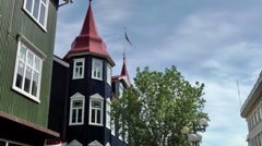 Iceland city of Akureyri 011 typical Icelandic architecture in the city Stock Footage