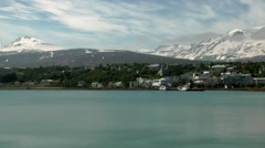 Iceland city of Akureyri 006 bay with snowy mountain landscape Stock Footage