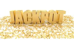 Jackpot with stars on white background - high quality 3d render Stock Illustration