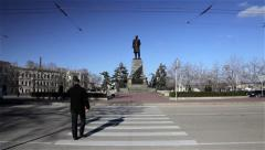 ZEBRA CROSSING & TROLLEY BUS SEVASTOPOL CRIMEA UKRAINE Stock Footage
