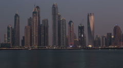 sunset view of Dubai skyscraper in United Arab Emirates UAE - stock footage