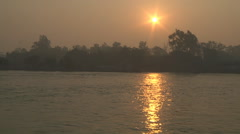 River Ganges and sun at Haridwar in Uttarakhand, India Stock Footage