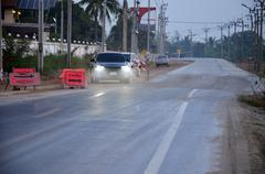 construct a road in evening time at Nonthaburi Thailand - stock photo