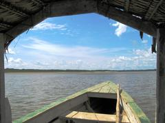 sailing in the amazon river - stock photo