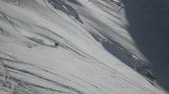 freeskier go downhill nice light - stock footage