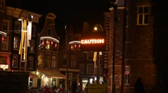 Caution at Amsterdam - stock footage
