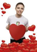 Stock Photo of girl with heart valentines day