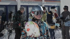 Sexy snowboard girl Stock Footage