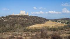 The medieval castle of csesznek with the village Stock Photos
