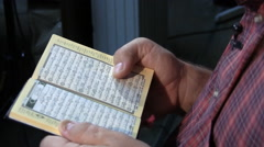Ukrainian Muslim Read Holy Quran in Kiev Ukraine Stock Footage