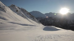 Beauty nature mountains shot in winter with snow Stock Footage