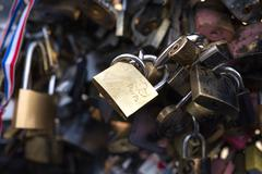 locks engraved with Paris - stock photo