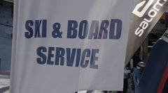 Ski and snow board service flague sign Stock Footage