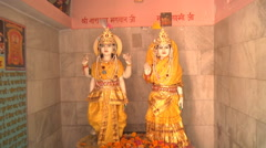 Statues in the Temple at Haridwar in Uttarakhand, India Stock Footage