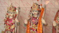 Statues in the Pawan Dham Temple at Haridwar in Uttarakhand, India Stock Footage