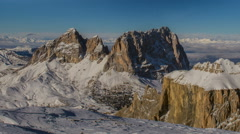 Sella Group and Sasso Lungo mountain peaks, winter time lapse Stock Footage