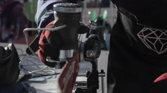 close up to ski edge service - stock footage