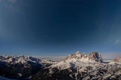 Sasso Lungo peak winter time lapse ski resort below, Dolomite Alps, Italy 6K Stock Footage