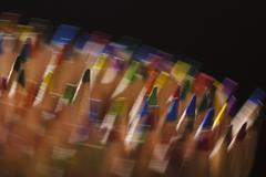 edition rotating coloured pencils - stock photo
