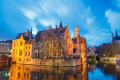 Bruges. Quay of the rosary Stock Photos