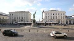 Godfrey of Bouillon statue in Brussels, Belgium Stock Footage