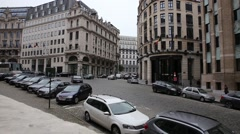Brussels road, cars and buildings Stock Footage