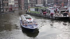 Amsterdam sight seeing tour boat - stock footage