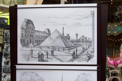 musee du louvre - picture on paper - stock photo