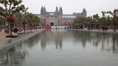 Iamsterdam sign in front of rijksmuseum in Amsterdam, Netherlands Stock Footage