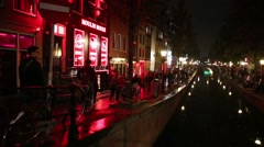 Amsterdam red light district Stock Footage