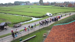 Tour group visiting Zaanse Schans, Zaandam Stock Footage