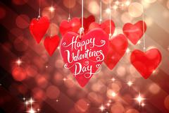 Composite image of happy valentines day - stock illustration