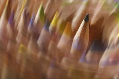Edition rotating coloured pencils Stock Photos