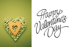 Composite image of wicker heart ornament with green paper cut out - stock illustration