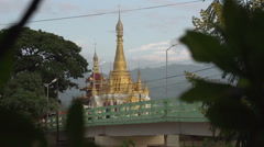 Nyaung Shwe, pagoda in town  Stock Footage