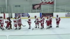 Sportsmanship at hockey game. 4K Stock Footage