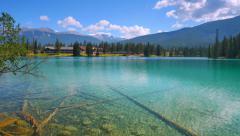 4K Jasper Park Lodge, Tilt Down Wide Angle Stock Footage