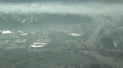 Early Foggy Morning Highway in Mountain Area - Aerial Stock Footage