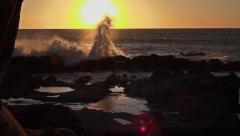 Splashing waves on rocks, sunset in Big Sur - 60fps Stock Footage