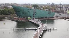 Science Center Nemo in Amstredam, Netherlands Stock Footage